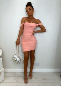Guilt Trip Ruched Dress - Peach