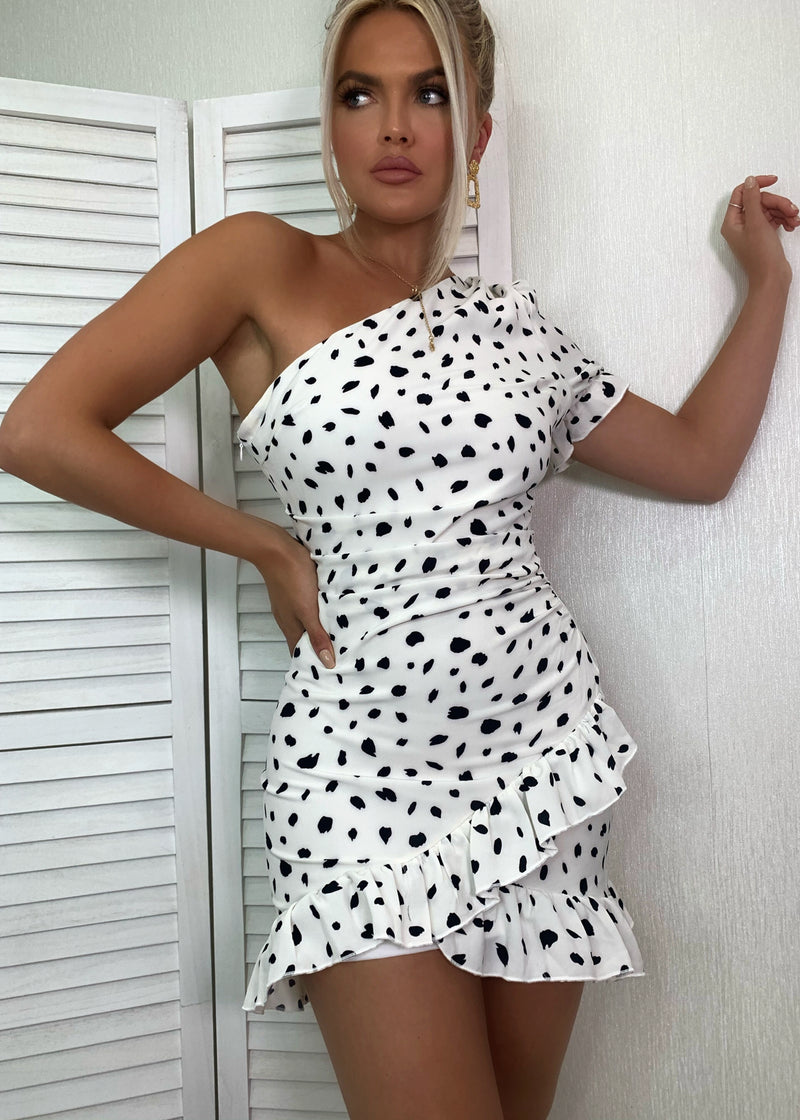 Thats Our Spot One Shoulder Dalmatian Print Dress