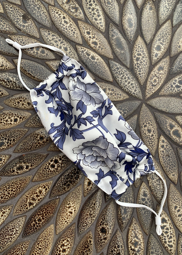Blue Floral Print Silk Face Mask