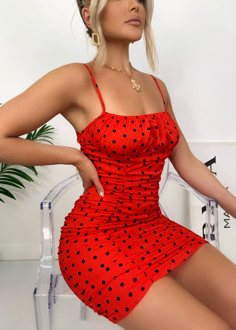 Steal The Spotlight Polka Dot Dress - Red