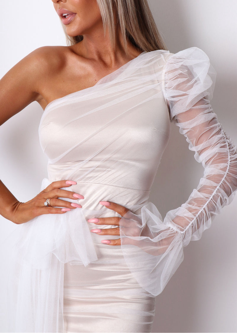Private Party Ruched Mesh Dress - White