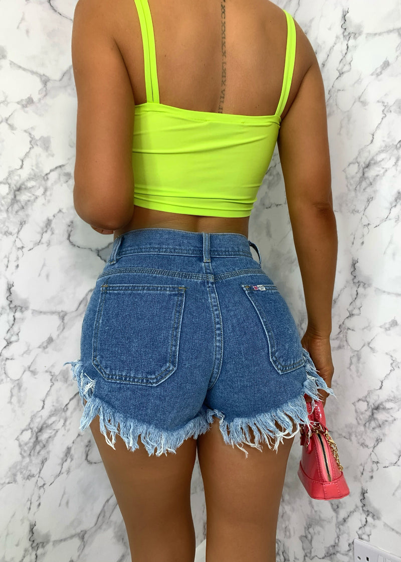 Girl Talk Distressed Denim Shorts - Mid Blue