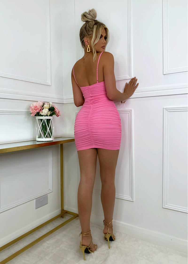 Mesh It Up Sheer Dress - Pink