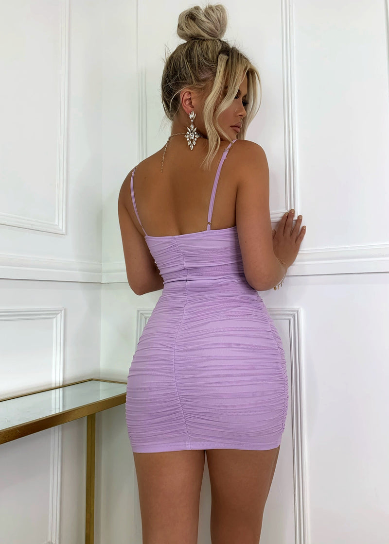 Mesh It Up Sheer Dress - Lilac