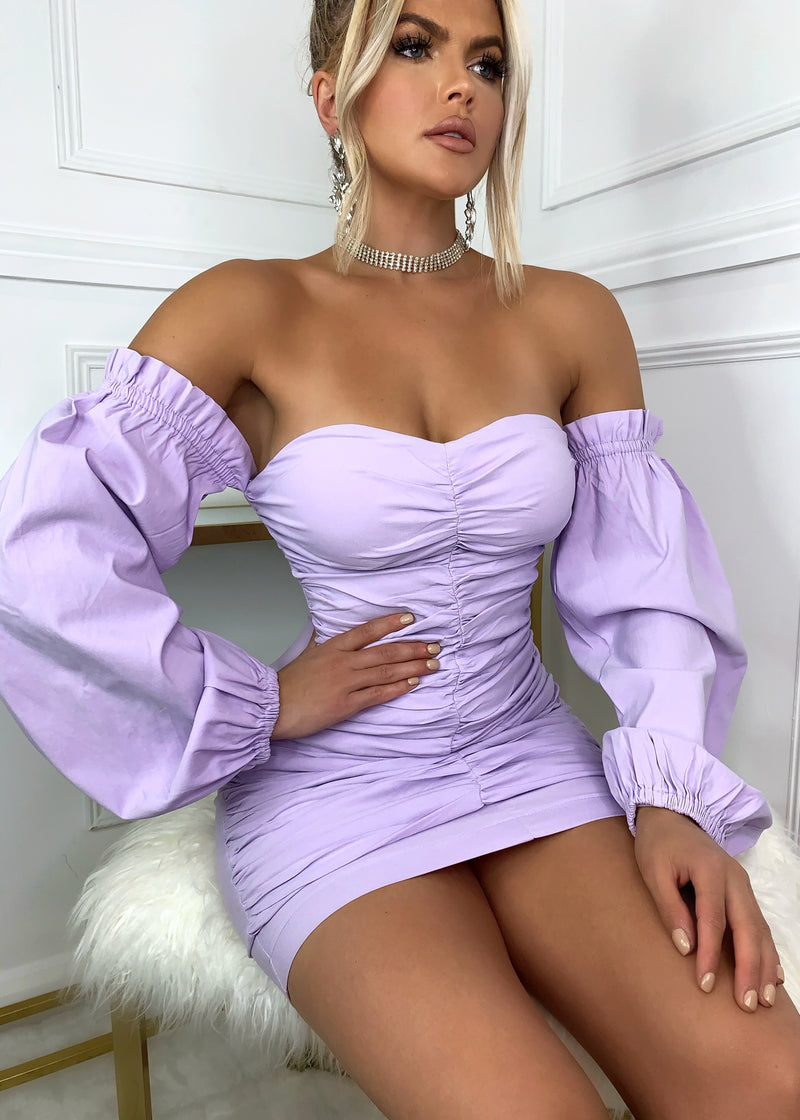 Power Of Love Ruched Long Sleeve Bardot Dress -  Lilac