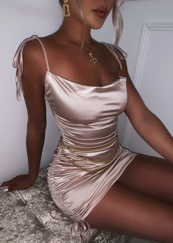 In A Ruche Mini Dress - Champagne