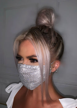 Bling On The Night Diamante Mask - Silver