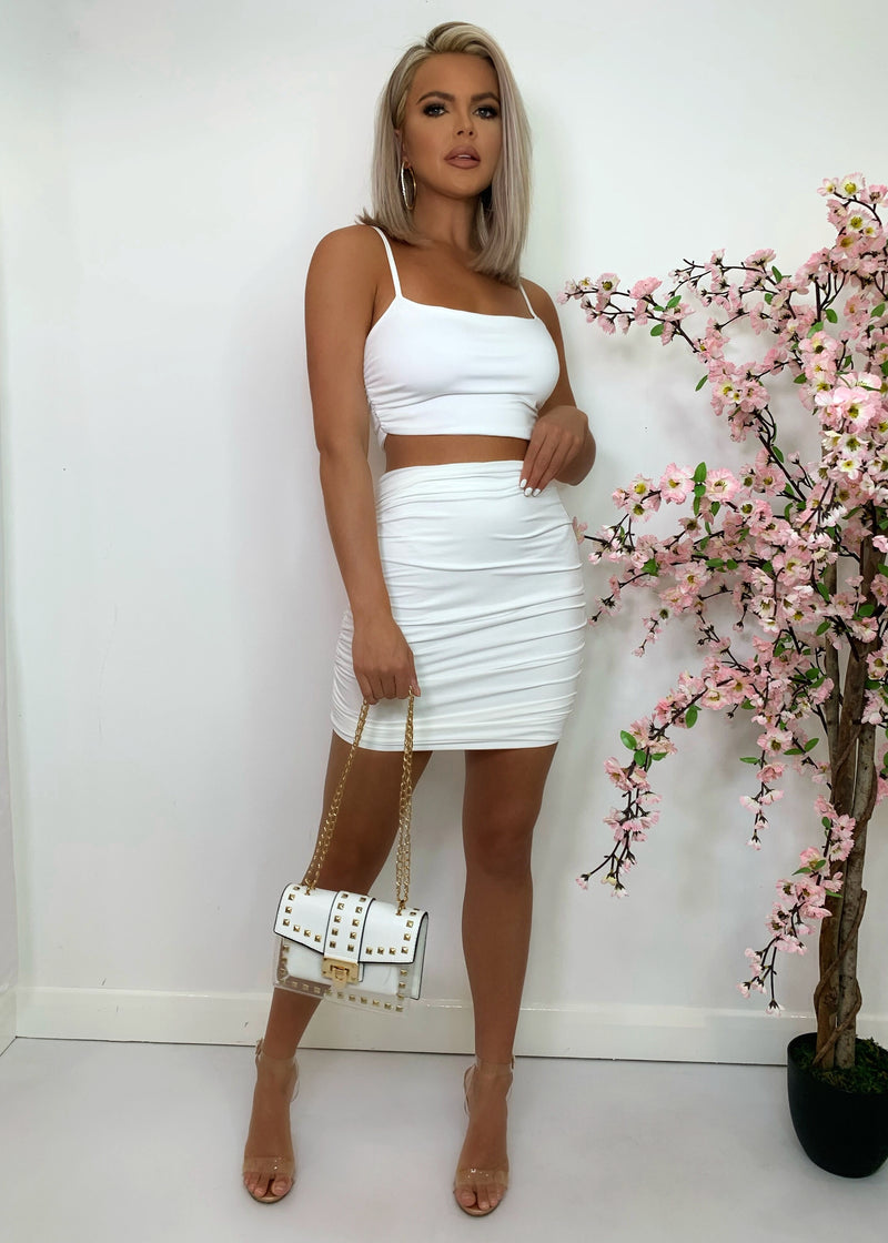Sugar Ruche Double Layered Two Piece - White