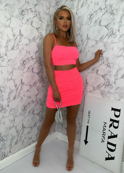 Sugar Ruche Double Layered Two Piece - Hot Pink