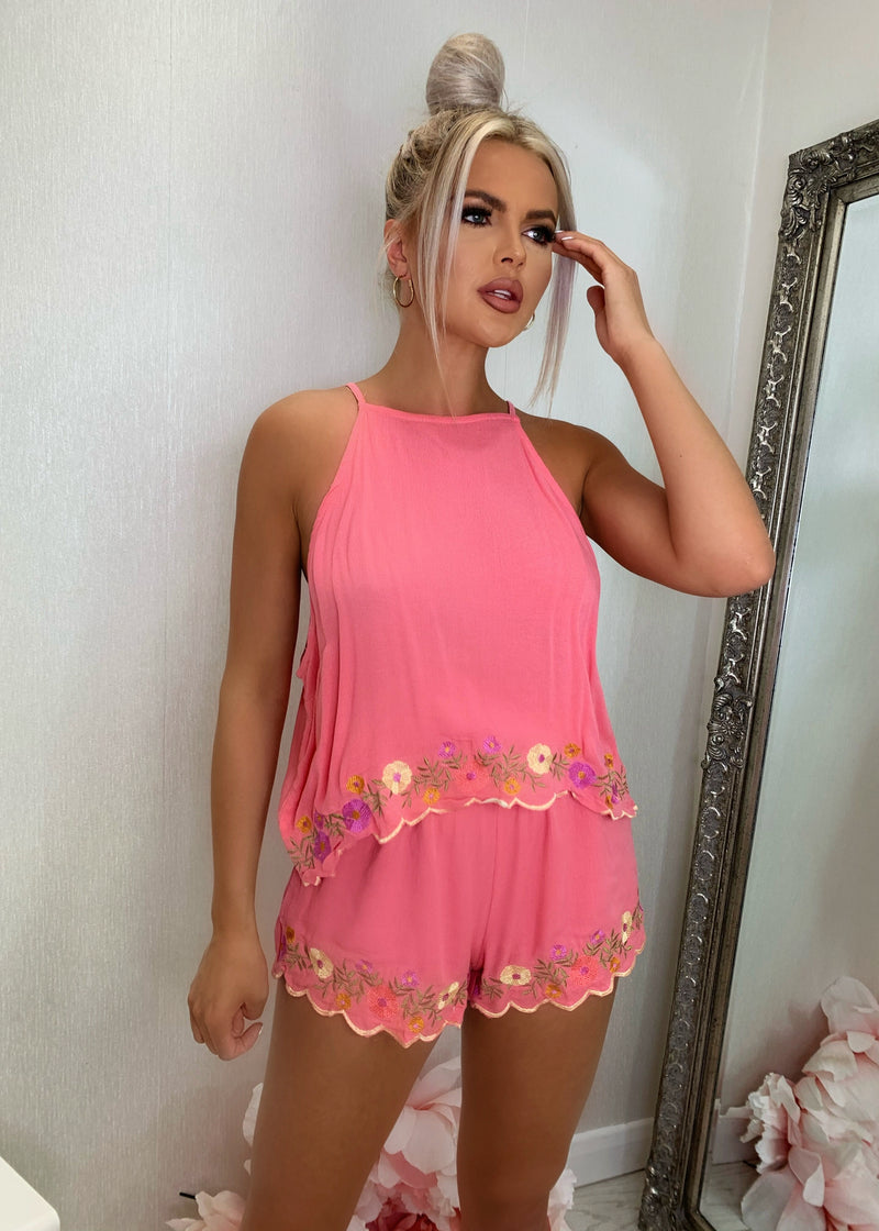 Growing On Vacay Embroidered Two Piece - Hot Pink