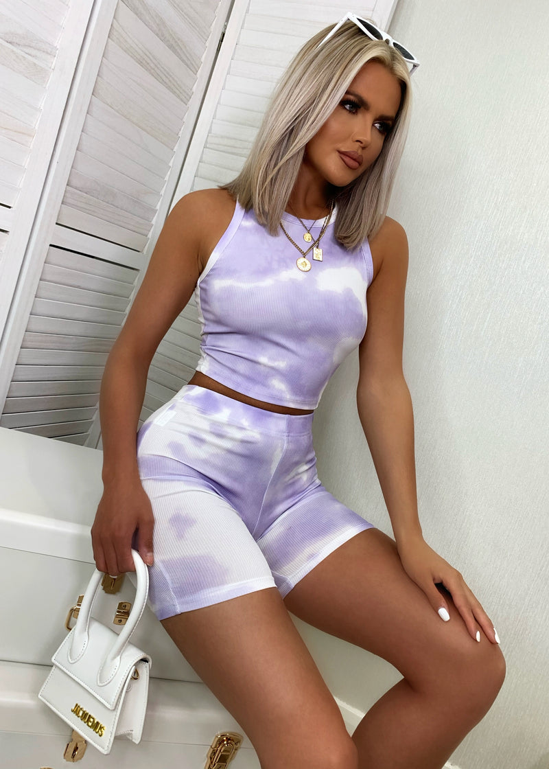 Keep It Together Ribbed Tie Dye Two Piece - Lilac
