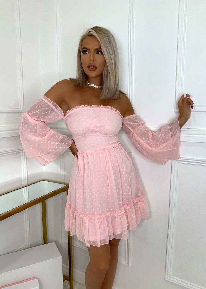 Let Me Be The One Bardot Dress - Pink