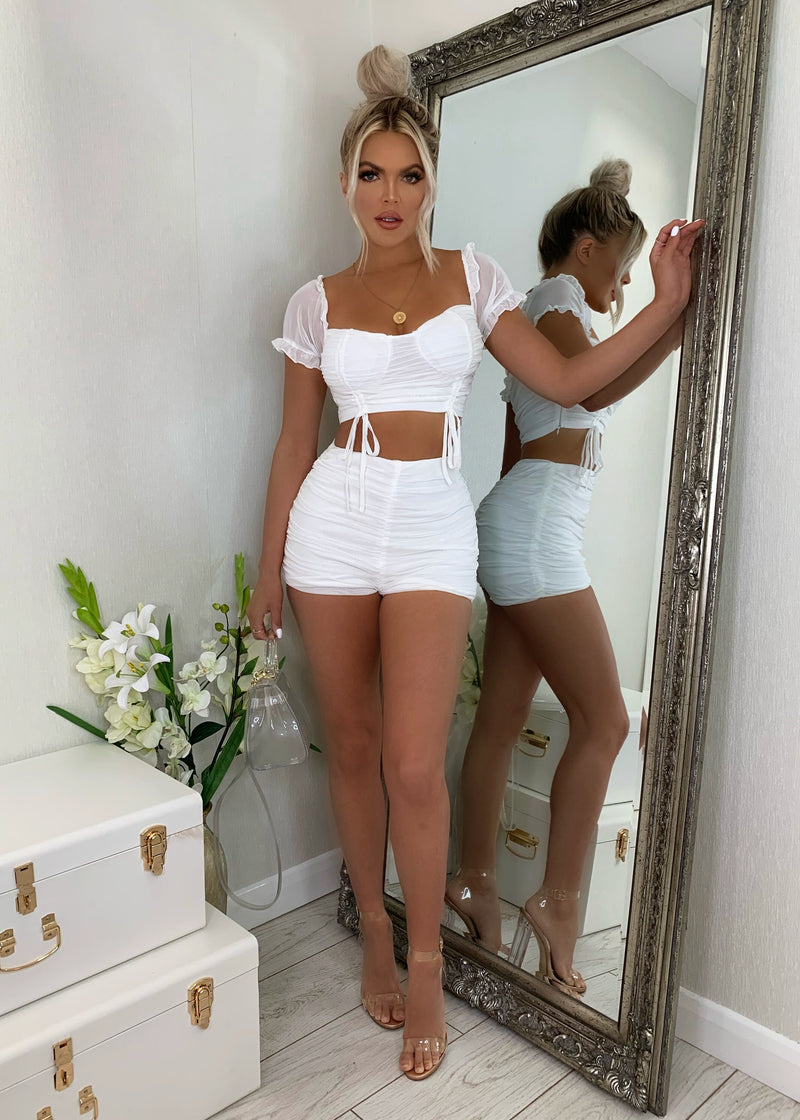 Love Note Mesh Two Piece - White