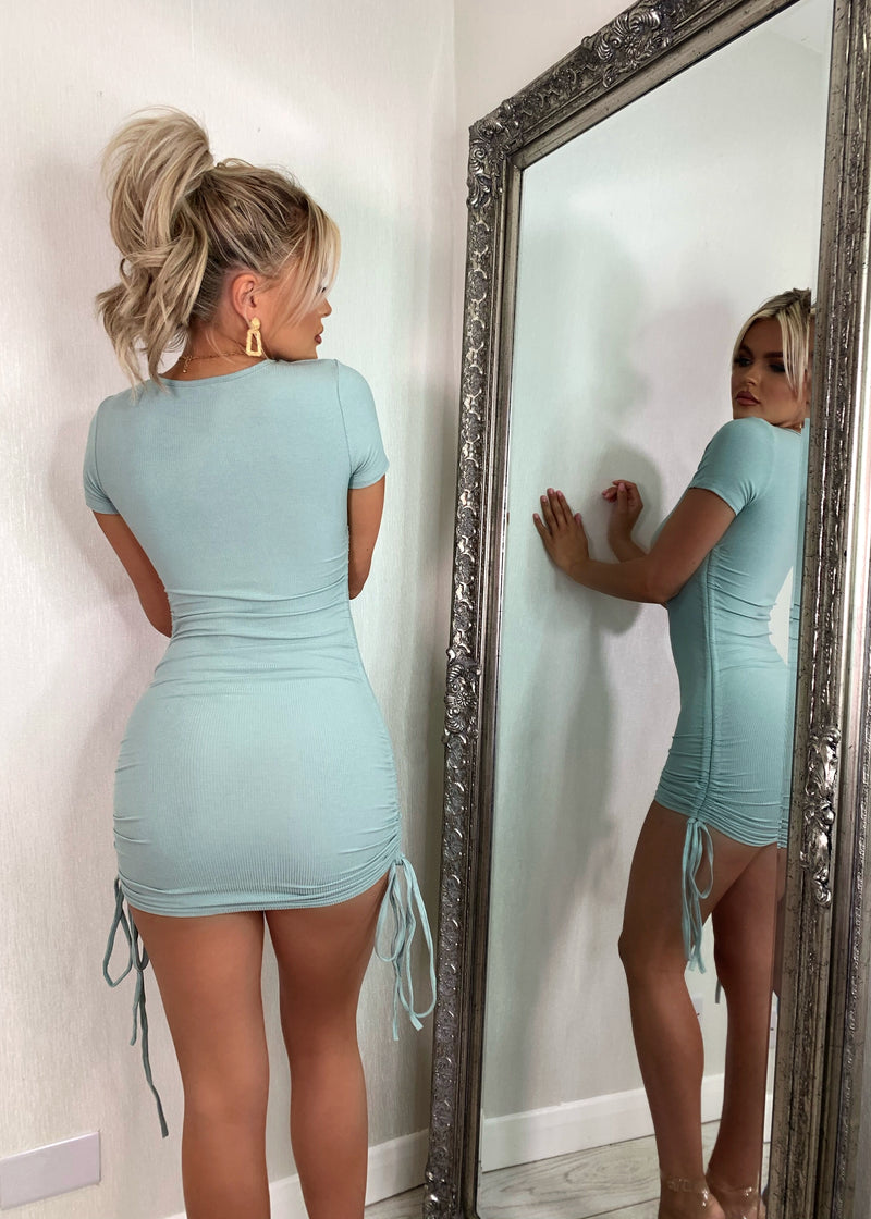 A Simple Favor Ribbed Mini Dress - Sage