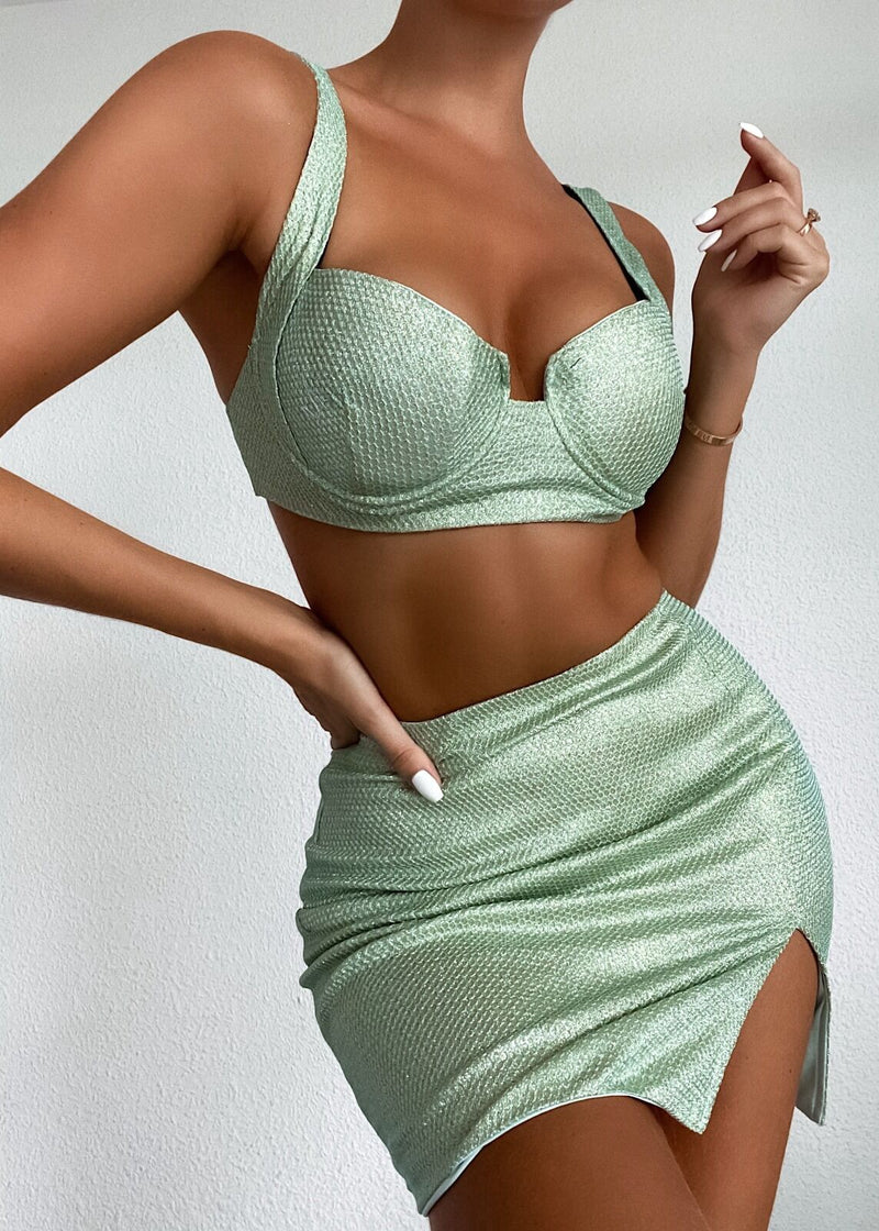 Glow All Night Sparkly Two Piece - Mint