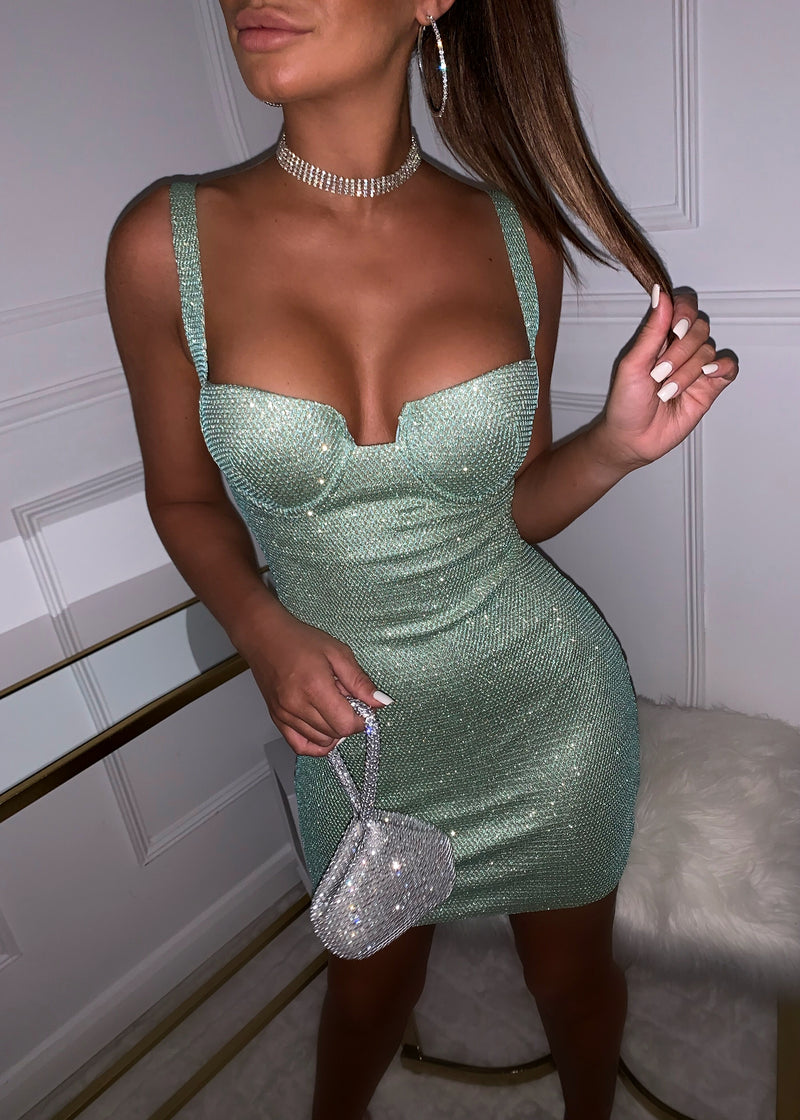 All Dressed Up Sparkly Dress - Mint