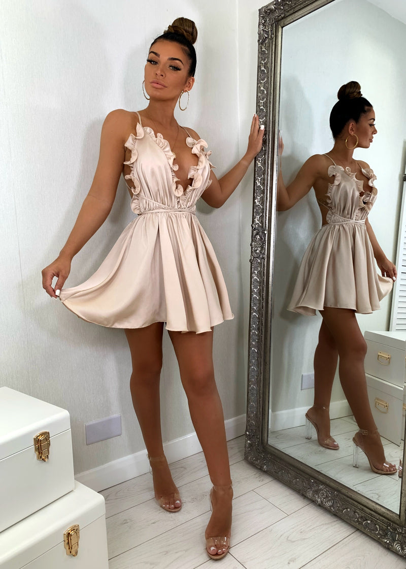 Tallulah Frilled Satin Dress - Nude