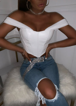 One Way Or Another PU Corset Top - White