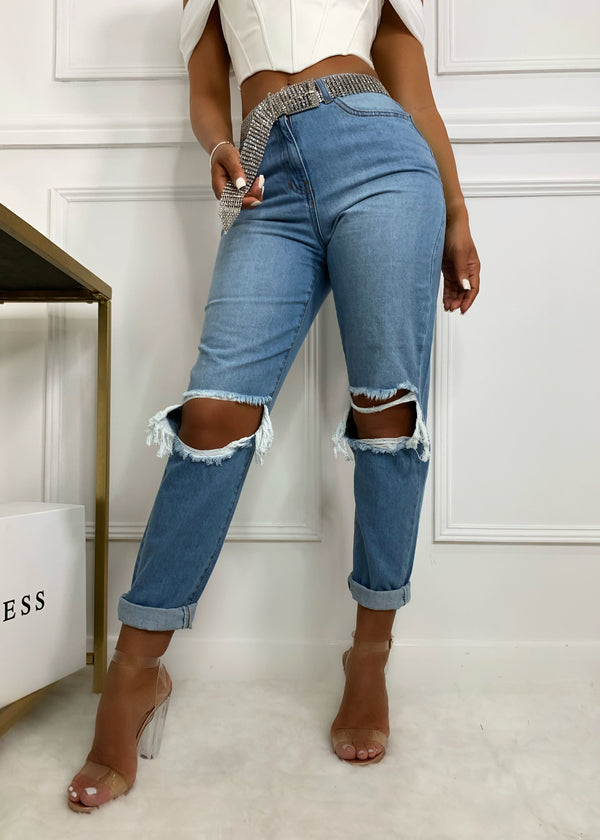 Rolling With It Distressed Knee Detail Jeans