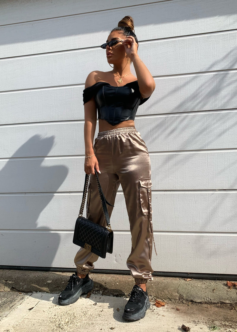 Cargo Your Own Way Satin Cuffed Trousers - Mocha