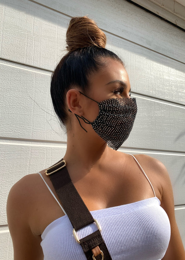 Rhinestones Fishnet Tie Up Face Mask Cover - Black