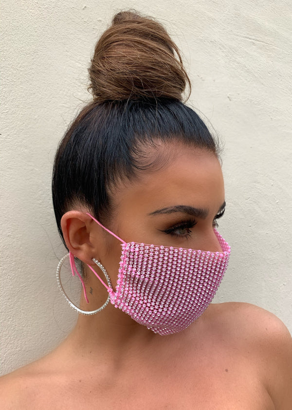 Rhinestones Fishnet Tie Up Face Mask Cover - Pink
