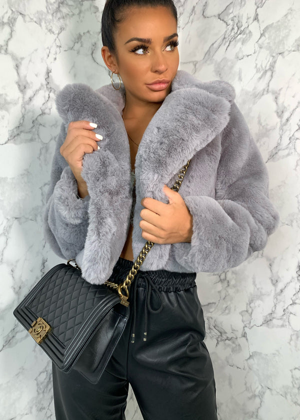 Short And Cozy Cropped Premium Faux Fur Jacket - Grey