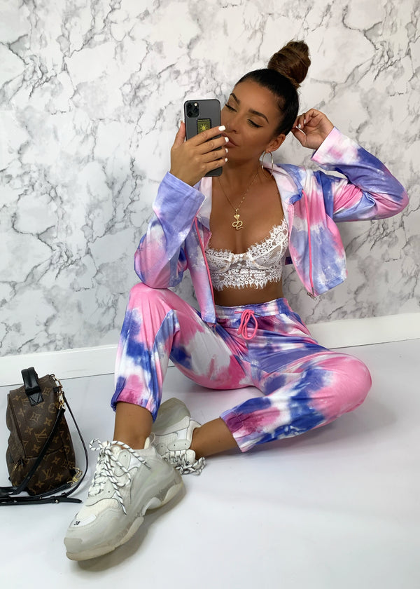 Kira Hooded Lounge Set - Tie Dye