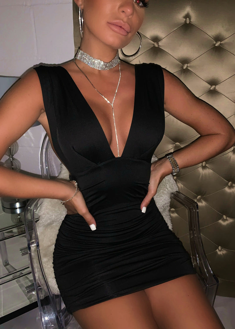 Deep On Dancing Bodycon Dress - Black