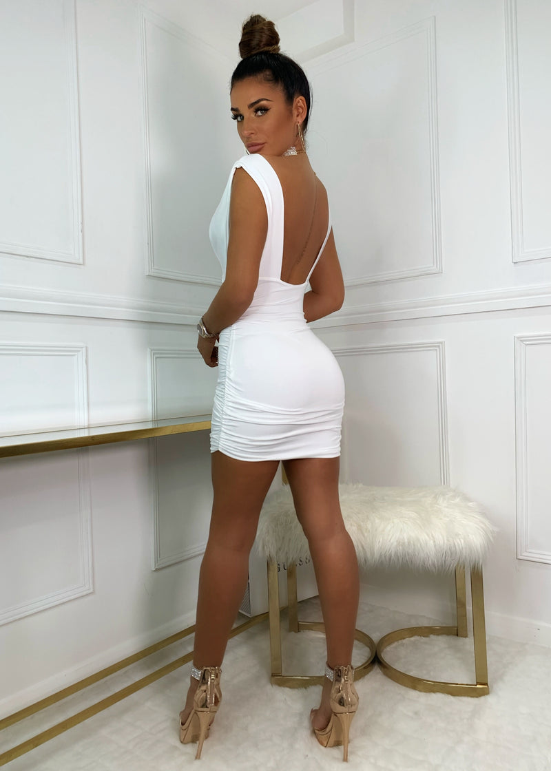 Deep On Dancing Bodycon Dress - White