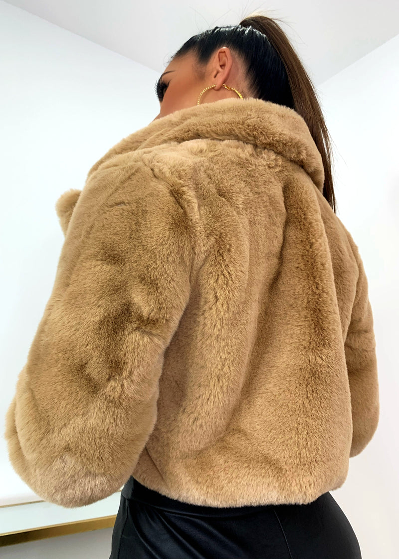 Short And Cozy Cropped Premium Faux Fur Jacket - Camel