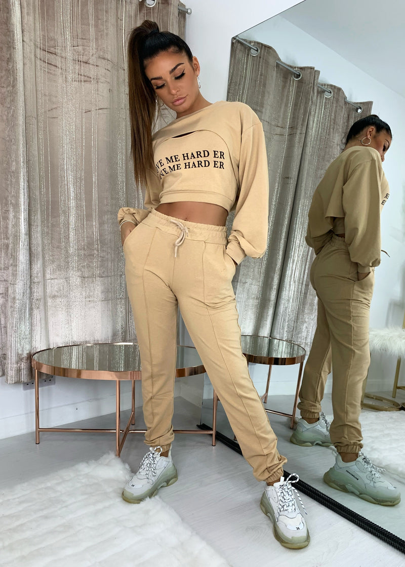 Love Slogan Three Piece Tracksuit - Sand