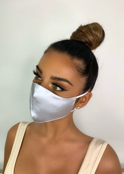 Belle Silk Face Mask - Silver