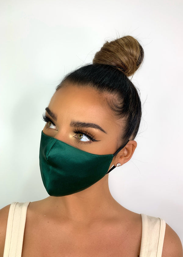 Belle Silk Face Mask - Emerald Green