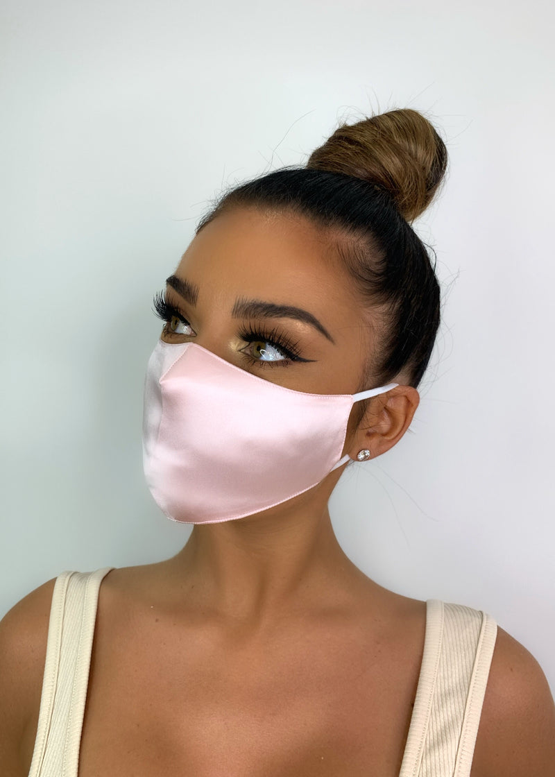 Belle Silk Face Mask - Pink
