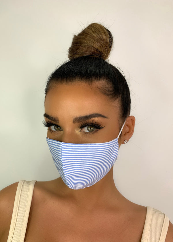 Baby Blue Striped Cotton Face Mask