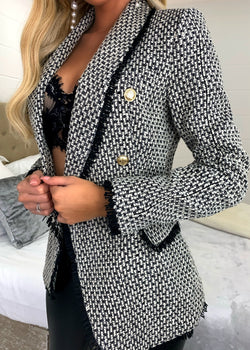 Parisian Nights Premium Tweed Double Breasted Blazer