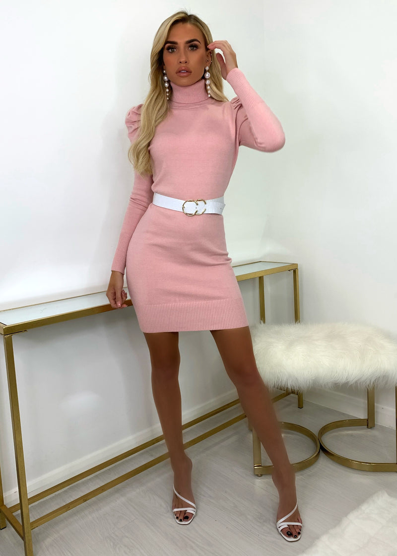 Knit A Chance Puff Sleeve Jumper Dress - Pink