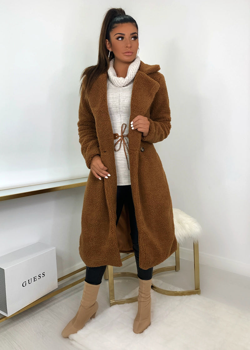 Fur Get Me Teddy Coat - Rust
