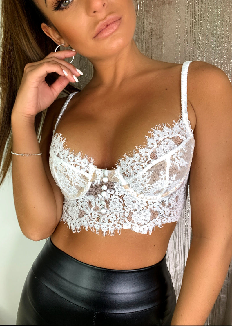 We Mean Business Lace Bralet - White