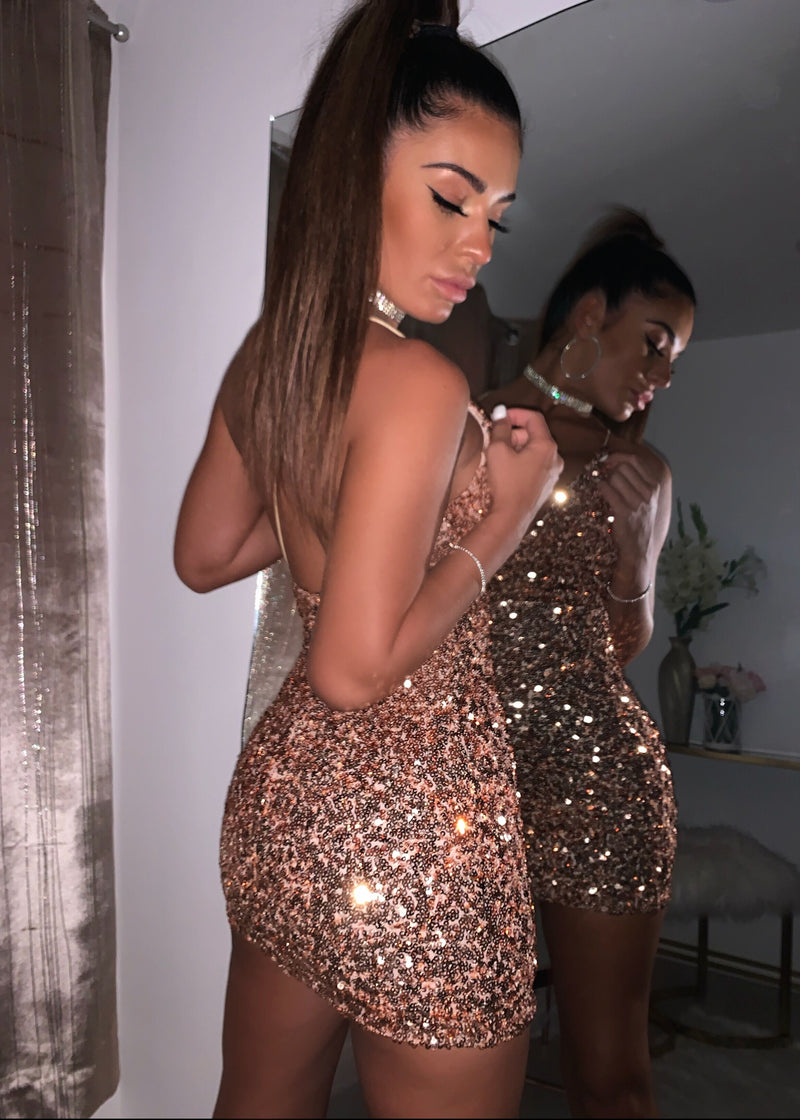 Your Time To Shine Sequin Mini Dress - Rose Gold