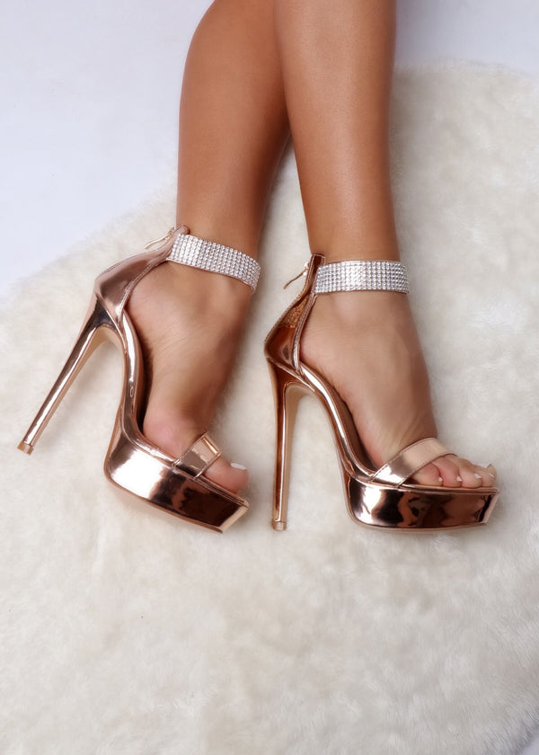 Chic Life Diamante Rose Gold Strappy Heels
