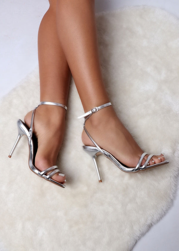Miss Rebellion Silver Strappy Heels