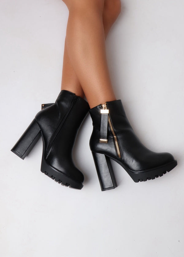 Toe To Toe Patent Heeled Boots - Black
