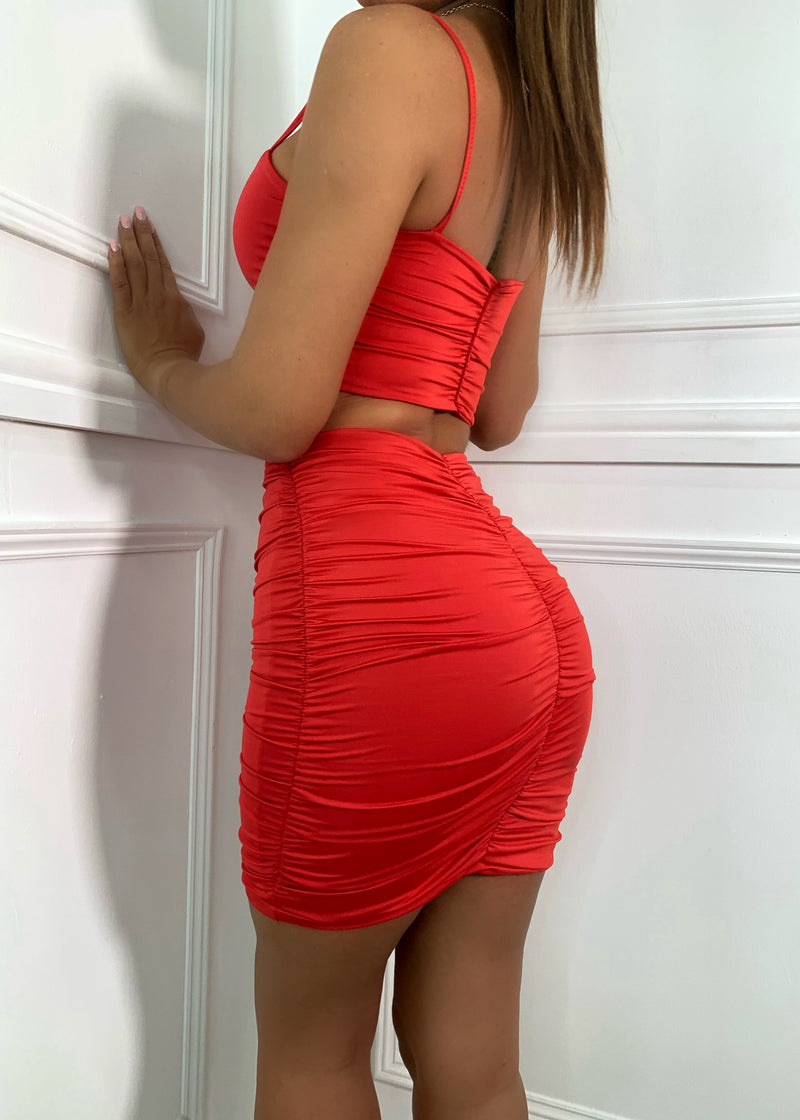 Sugar Ruche Double Layered Two Piece - Red