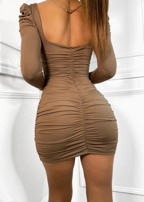 Old School Romance Puff Shoulder Dress - Chocolate