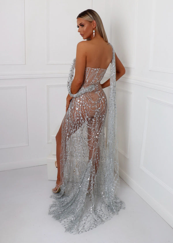 Diamond Nights Glitter Mesh Maxi Dress - Silver