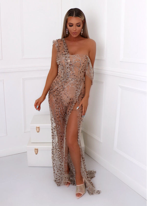 Diamond Nights Glitter Mesh Maxi Dress - Bronze