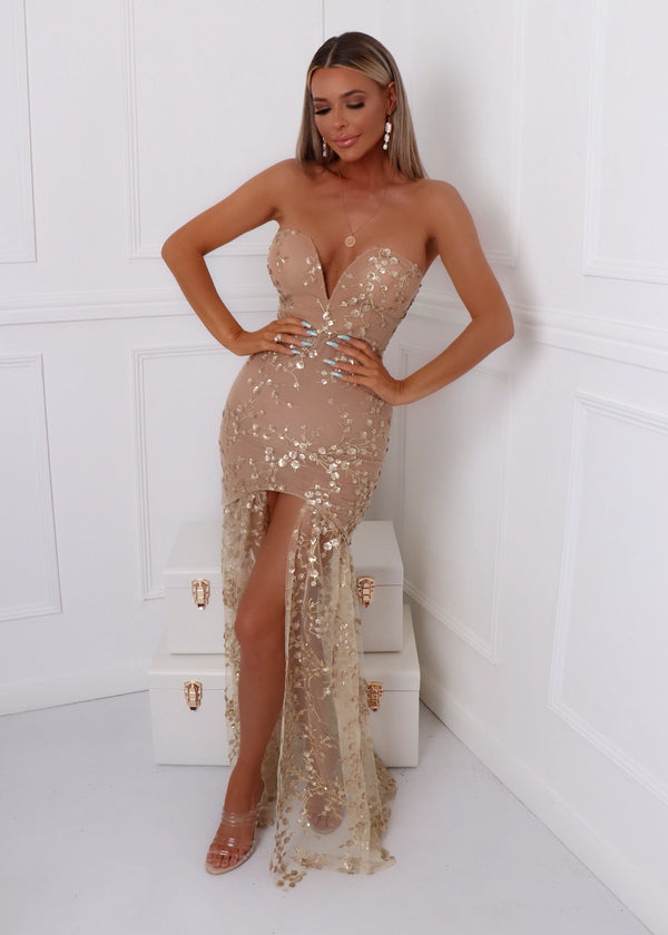 Living In Luxury Gown With Detachable Overskirt - Gold
