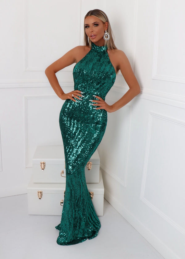 'Sequin Queen' Gown - Emerald Green